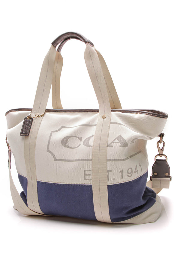 Coach Logo Weekender Tote Bag Cream Blue