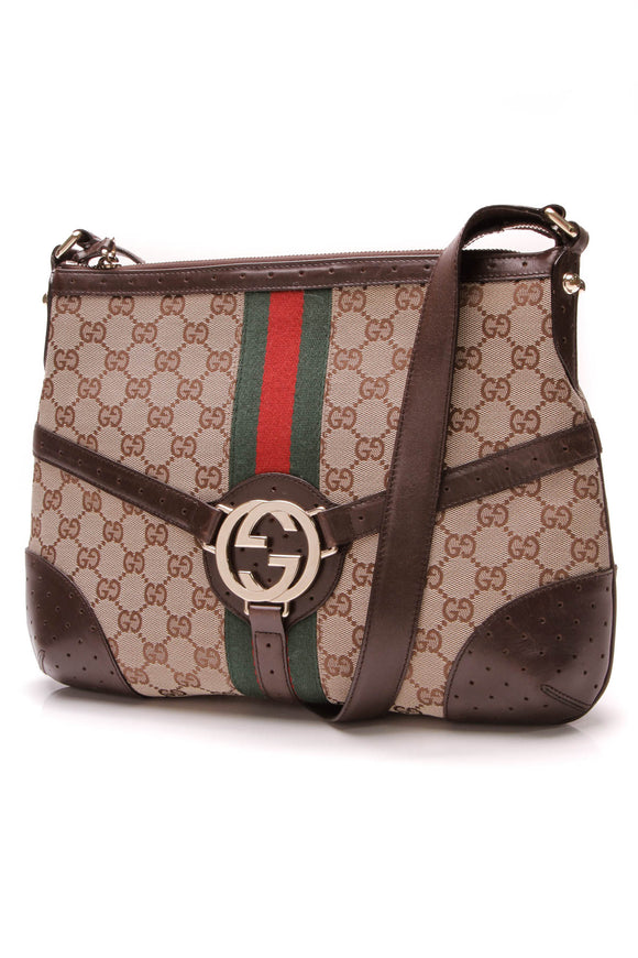 Gucci Reins Crossbody Bag Signature Canvas Brown