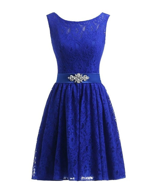 Lavender Short Lace Homecoming Dresses Crystal Beading Sash Wedding Party Dresses Cheap Burgundy Bridesmaid Dresses