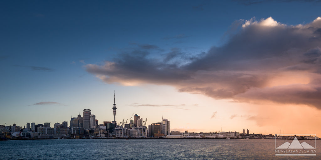 Panorama photo print of Auckland city skyline at sunset