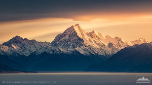 Mount Cook Aoraki at sunrise across Lake Pukaki in Canterbury