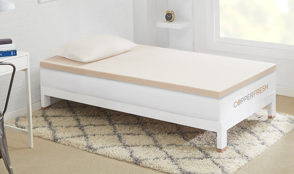 CopperFresh Gel Memory Foam College Mattress Topper - Twin XL, Twin, Full