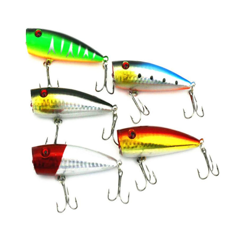 5pc 7cm Fishing Topwater Floating Popper Lure - Pro Gear Fishing Reels
