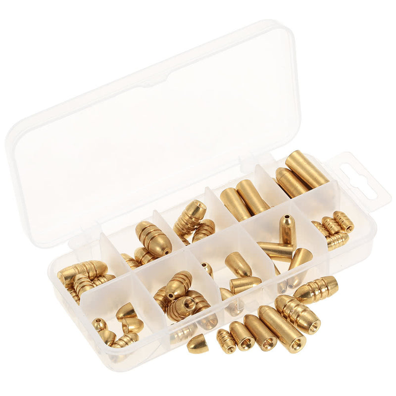 50pcs 1.8/3.5/5/7/10g Weight Assorted Copper Sinker Kit in A Box Case - Pro Gear Fishing Reels