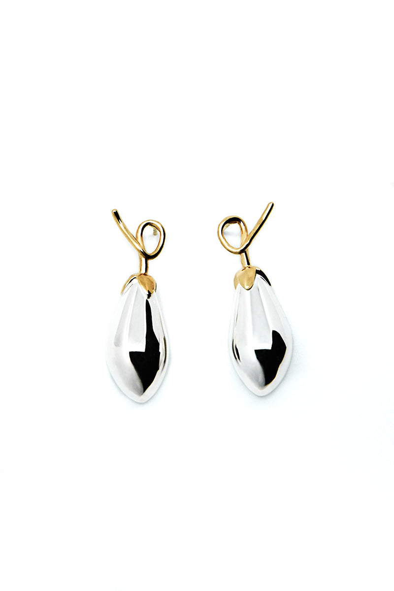 ADELHEID EARRINGS, SILVER/GOLD