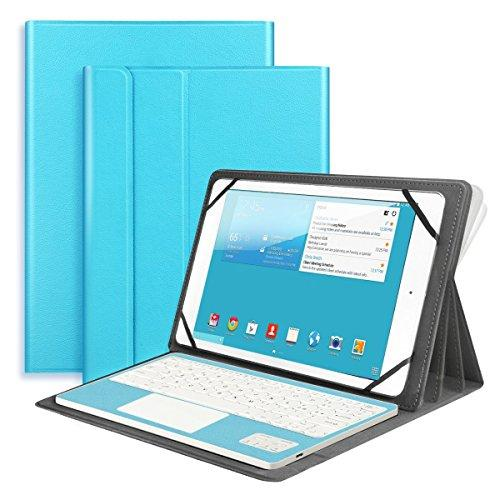Bluetooth Keyboard with Touchpad QWERTY UK Layout + PU Leather Protective Case with Stand Function for 10 inch Tablets-Blue