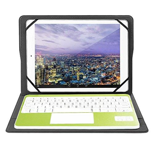 Bluetooth Keyboard with Touchpad QWERTY UK Layout + PU Leather Protective Case with Stand Function for 10 inch Tablets-Green