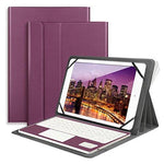 Bluetooth Keyboard with Touchpad QWERTY UK Layout + PU Leather Protective Case with Stand Function for 10 inch Tablets-Purple