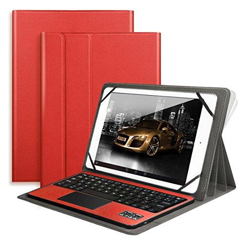 Bluetooth Keyboard with Touchpad QWERTY UK Layout + PU Leather Protective Case with Stand Function for 10 inch Tablets-Red