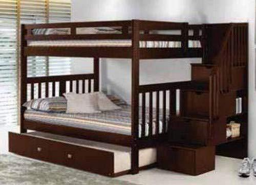 Donco Kids 225-FFSCP_503CP Mission Stairway Bunk Bed withTrunde, Full/Twin, Dark Cappuccino