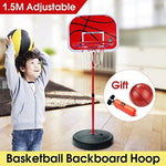 DUCKTOYS Indoor Outdoor Portable Basketball set,1.5m Height Adjustable Kids Mimi Basketball Hoop Set Backboard Basket Ball,72-150cm,Red Basketball Hoop+Basketball+Pump
