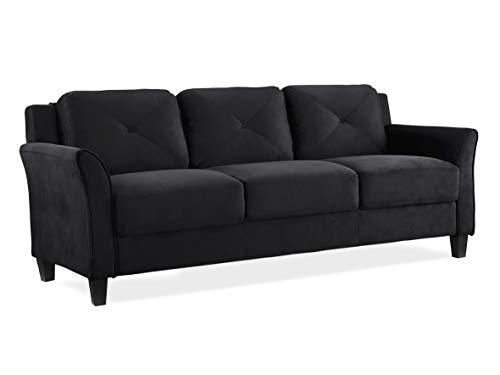 "Grayson HRFKS3M26BK Collection Micro-Fabric Sofa, (1710mm/67.3"" x 520mm / 20.5"" x 480mm/18.9""), Black"