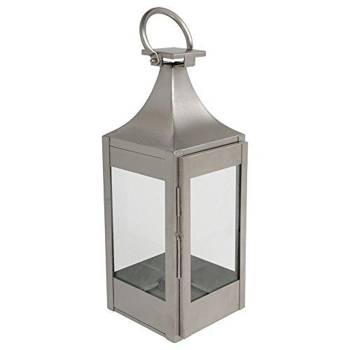 hydroflora 61460500 garden lantern Value Line, 18 x 18 x 50 cm, V4A stainless steel, matte brushed finish