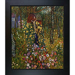 La Pastiche Cottage Garden With Crucifix Metallic Embellished Artwork By Gustav Klimt With New Age Wood Frame