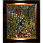 La Pastiche Cottage Garden With Crucifix Metallic Embellished Artwork By Gustav Klimt With Opulent Frame