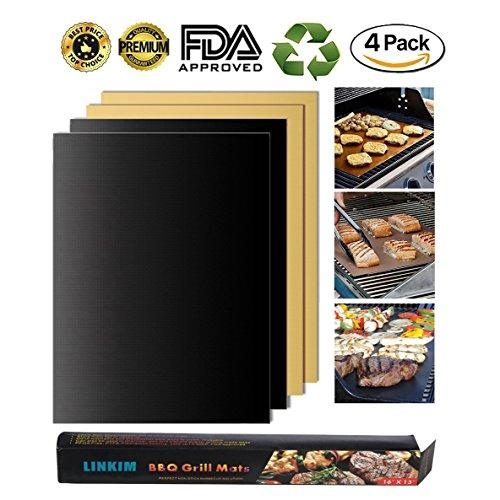 LINKIM BBQ Grill Mat Set of 4, Non-stick Reusable PFOA Free FDA Approved and Easy to Clean BBQ Copper Grill Baking Mats - Works on Gas, Charcoal, microwave,Electric Grills(2 black+2 copper)