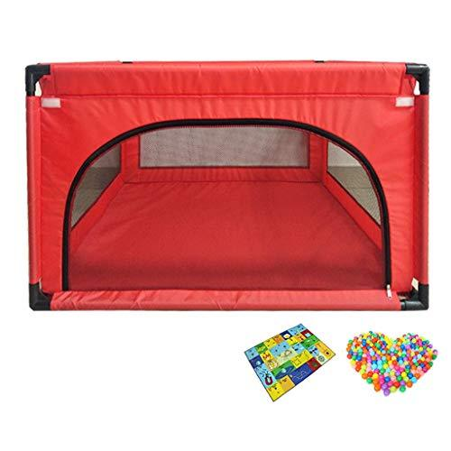 LYFHL Baby Playpen - Children's Toys Bobo Pool Indoor Game Bed Infant Crawling Mats Toddler Guardrail Home 120 * 120 * 68cm (color : RED)