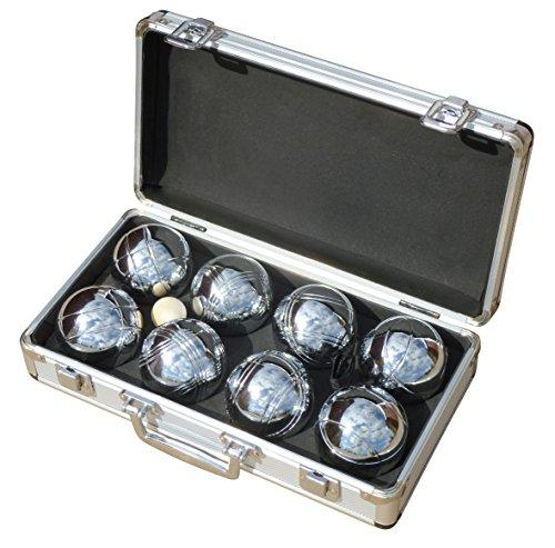 Mightymast Leisure 8x Polished BOULES Garden Game Set In Smart Metal Carry Case