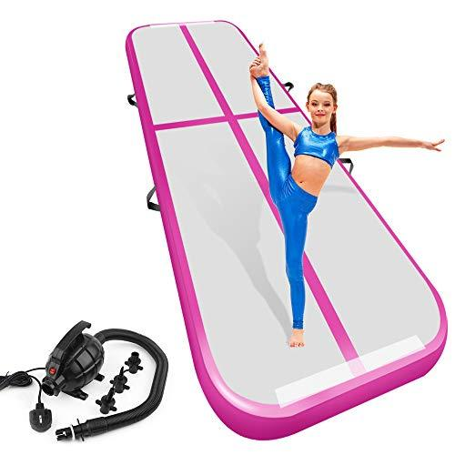 Playieer Air Track Tumbling Mat for Gymnastics Inflatable Gymnastics Airtrack Floor Mats for Home use Cheer Training Tumbling Cheerleading Beach Park Water (Pink 1, 9.84 ft)