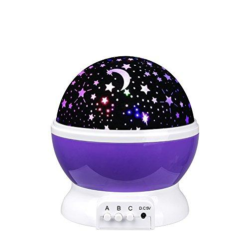 Senweit 360 Degree Rotating Star Sky Moon Lamp Projector 3 Modes Adjustable Constellation Romantic Colourful Night Light For Baby kids Nursery Bedroom Great Christmas Birthday Gift(Purple)