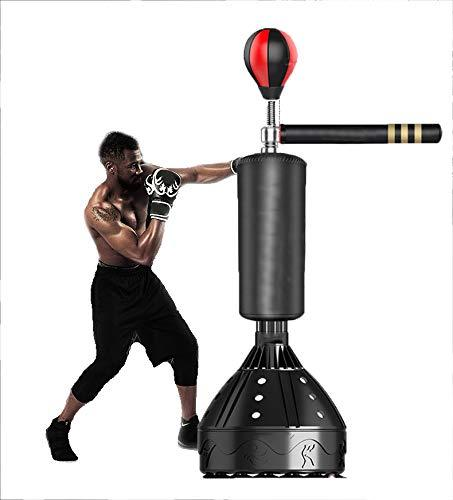 Sport Boxing Punching Bag Stand-Up Adult Rotatable Speed Ball Adjustable Height Shock Absorption Wear-Resistant for Home Gym Dodge Sanda Training
