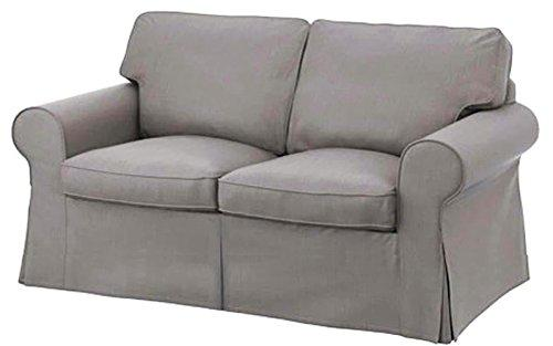 The Cotton Sofa Cover Is 2 Seat Sofa Slipcover Replacement. It Fits Pottery Barn PB Basic Loveseat Sofa (Light Gray)