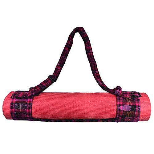Yoga Mat Adjustable Carry Strap Handcrafted with Back Strap Loomed Native Tribal Textiles And Durable Cotton by Santa Playa :: Tropical Fuchsia