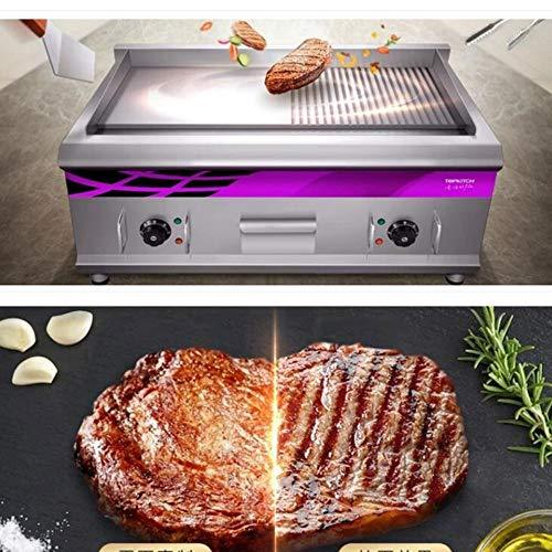 You will think of me Grill 220V Electric Grill Oven 2 Plates Flat/Wave Plate Barbecue Grill Machine Teppanyaki Griddle Grill 16Mm Depth Plate,A