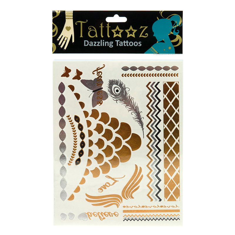 TT109: 6 or 12 Pack/Unit - Temporary Metallic flashy Gold and Silver Tattoos
