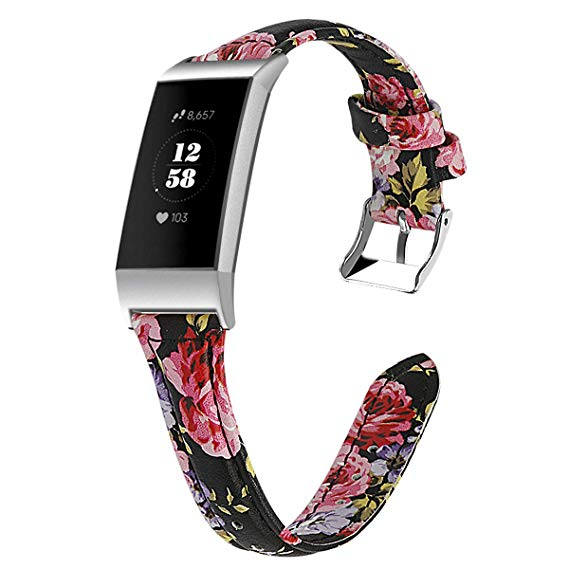 Fitbit charge 3 black floral strap