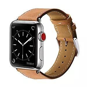 Apple watch series 4 tan genuine leather strap
