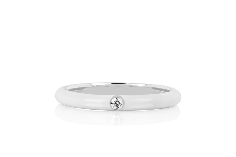 Collection Jumbo Single Diamond  White Enamel Stack Ring | 4sisters1closet
