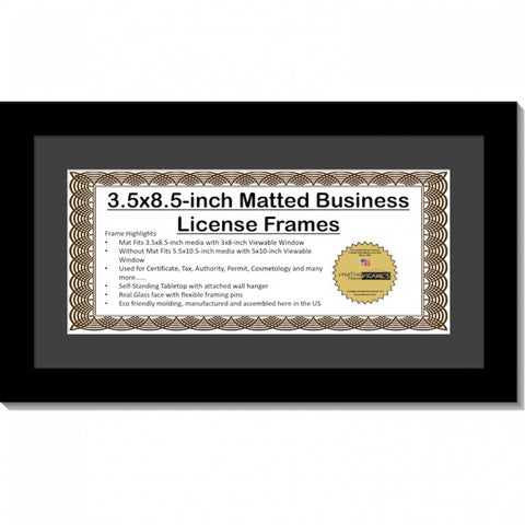 3.5x8.5 License Frame with Mat