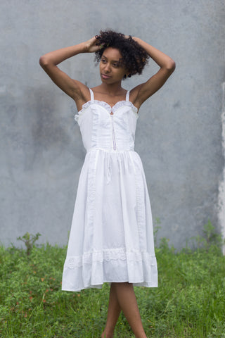 Gunne Sax White Prairie Vintage Dress