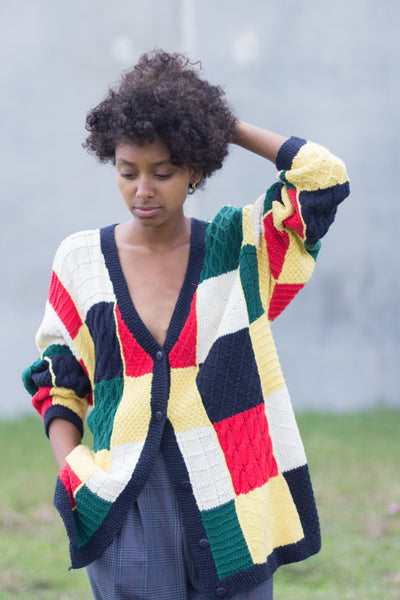 Vintage Cable Knit Cotton Varsity Cardigan Sweater