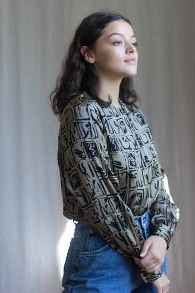 Abstract Number Print Silk Vintage Blouse
