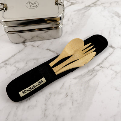 'Choose to ReUse' Bamboo Cutlery Kit & Cotton Pouch