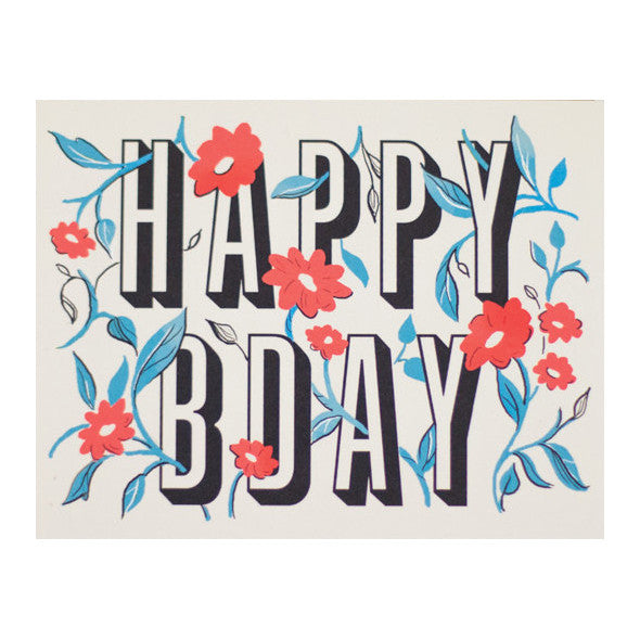 Floral Happy Bday Card by Amy Heitman