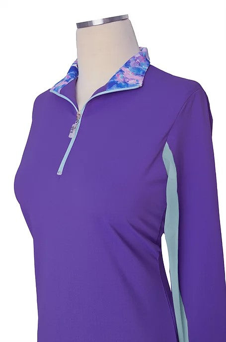 EIS Stand Up Patterned Collar Violet Seabreeze