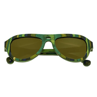 Spectrum Lopez Wood Polarized Sunglasses - Green Stripe/Brown SSGS111BN