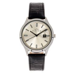 Elevon Concorde Leather-Band Watch w/Date - Silver ELE115-1