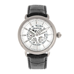 Heritor Automatic Mattias Leather-Band Watch w/Date - Silver HERHR8401