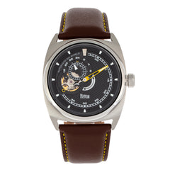 Reign Astro Semi-Skeleton Leather-Band Watch - Silver/Brown REIRN5502