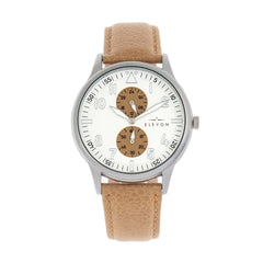 Elevon Turbine Leather-Band Watch - Silver/Khaki ELE116-1
