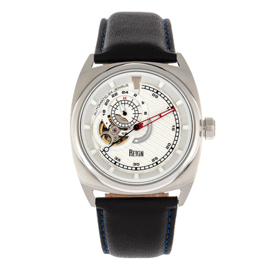 Reign Astro Semi-Skeleton Leather-Band Watch - Silver/Black REIRN5501