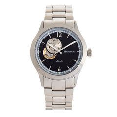 Heritor Automatic Antoine Semi-Skeleton Bracelet Watch - Silver/Black HERHR8502
