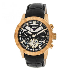 Heritor Automatic Hannibal Semi-Skeleton Leather-Band Watch - Rose Gold/Black HERHR4106