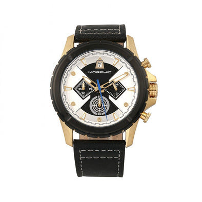 Morphic M57 Series Chronograph Leather-Band Watch - Gold/Black MPH5703