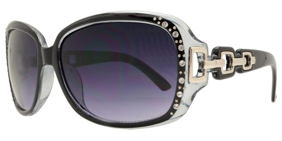 F2676B Black Chain Link Rhinestone Sunglasses