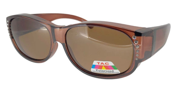 fors9674 Rhinestone Ladies Brown Polarized Fit Over